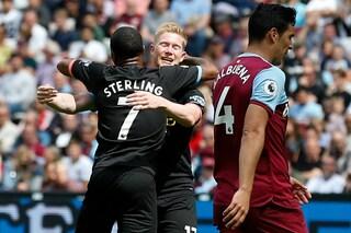 Premier, il Manchester City strapazza il West Ham: 5 gol, tripletta di Sterling