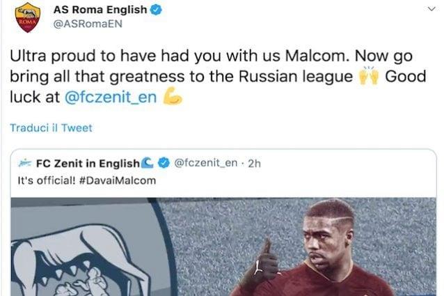 Lo Zenit annuncia Malcom e 'irride' la Roma