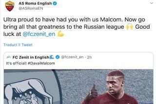 Malcom allo Zenit, arriva lo sfottò alla Roma che replica su Twitter