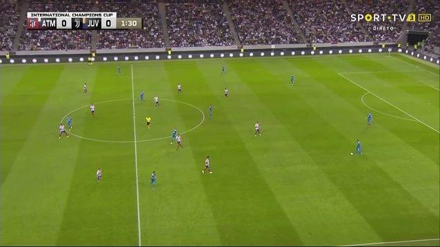 Uno dei primi possessi contro l'Atletico Madrid: chiare le posizioni di partenza del 4–3–3 con Khedira quasi sulla linea di Douglas Costa e Cristiano Ronaldo pronto a smarcarsi a sinistra