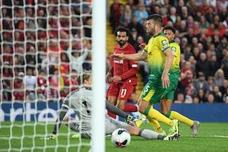Liverpool-Norwich 4-1, gol di Salah e van Dijk. Infortunio per il portiere Alisson