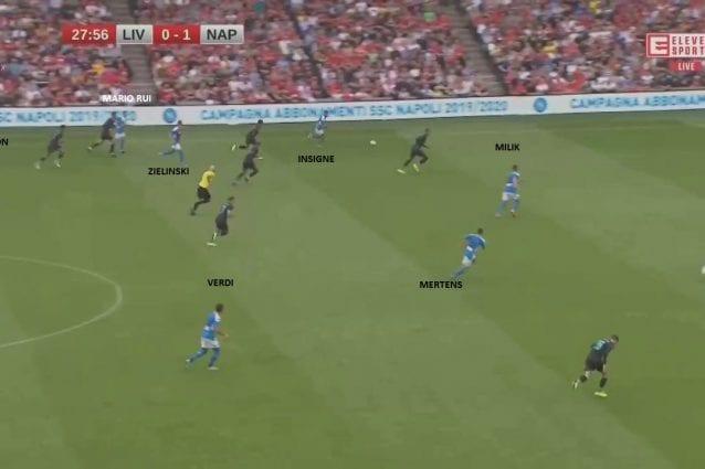 L'azione che porta al secondo gol contro i Reds testimonia come Ancelotti chieda alle ali di giocare stretti e porti 5–6 uomini verso la palla