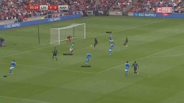 Contro il Liverpool, Ancelotti ha sperimentato Callejon mezzala: si vede bene la posizione a supporto delle punte che lo spagnolo occupa in questa azione