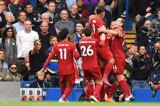 Premier, il Liverpool capolista fa 6 su 6: sconfitto il Chelsea 2-1 e Reds imbattuti