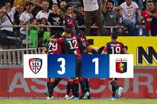 Il Cagliari strapazza il Genoa nel finale: 3-1 alla Sardegna Arena