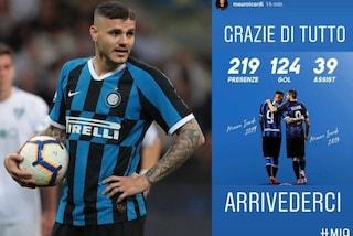 Mauro Icardi saluta l'Inter ricordando i suoi gol: 124 in 219 presenze