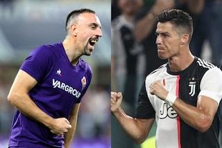 Fiorentina-Juventus, FR7 vs CR7: i numeri di Ribery e Ronaldo accendono il big match