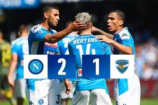 Napoli, spettacolo e sofferenza con il Brescia: Mertens e Manolas regalano i tre punti