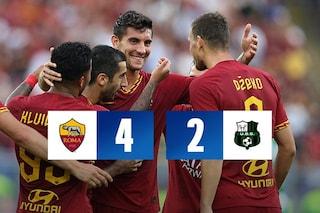 Roma, goleada sul Sassuolo (4-2): ma la difesa soffre ancora troppo
