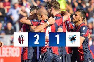 Il Bologna fa festa al Dall'Ara: i gol di Palacio e Bani stendono la Sampdoria