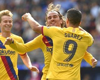 Liga, il Barcellona vince 3-0 con l'Eibar: a segno Messi, Griezmann e Suarez