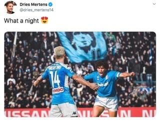 Dries Mertens, fotomontaggio con Maradona per celebrare i 116 gol col Napoli