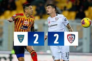 Lecce, cuore e grinta: va sotto di due gol ma riprende il Cagliari al 91esimo