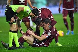 Torino, le condizioni di Belotti dopo l'infortunio: niente frattura, solo una contusione