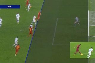 Roma-Brescia, la moviola: corretti gli interventi VAR su Zaniolo (no gol) e Dzeko (gol)