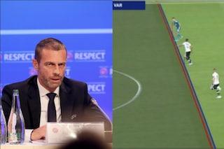 """Uefa, rivoluzione del presidente Ceferin sul fuorigioco: """"Tolleranza Var di 10-20 centimetri"""""""