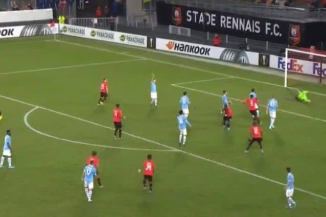 La prima rete di Gnagnon; Rennes-Lazio 1-0.