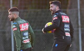 Napoli, il primo allenamento di Gattuso: urla, fischi e torello con i giocatori