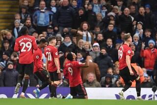 Premier, il Manchester United vince il derby e inguaia il City di Guardiola