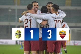 La Roma non si ferma più: 3-1 a Verona, quarto successo in 5 gare e sempre zona Champions