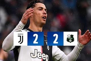 L'esordiente Turati 'stoppa' la Juve: solo 2-2 contro il Sassuolo allo Stadium