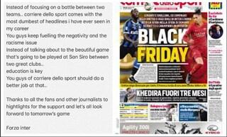 """Lukaku commenta così """"Black Friday"""": """"Il titolo più stupido che io abbia mai visto"""""""