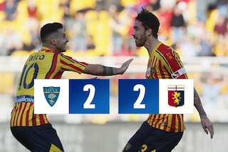 Il Genoa scappa, il Lecce la riprende: finisce 2-2 con goal, spettacolo e due rossi