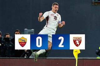 Serie A, Roma-Torino 0-2: il 'Gallo' canta due volte all'Olimpico, Belotti decisivo