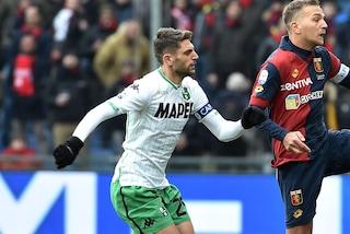 Genoa-Sassuolo, Berardi espulso dopo il 90': rischia la maxi-squalifica
