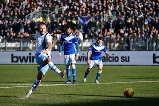 9a vittoria consecutiva della Lazio, doppietta di Immobile e 2-1 al Brescia