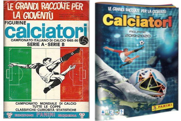 La prima edizione (65–66) e l'ultima (2019–20) delle figurine Panini con in copertina la rovesciata di Parola