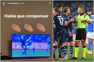 """Napoli-Lazio, Luis Alberto contro l'arbitro Massa: """"Doveva compensare"""""""