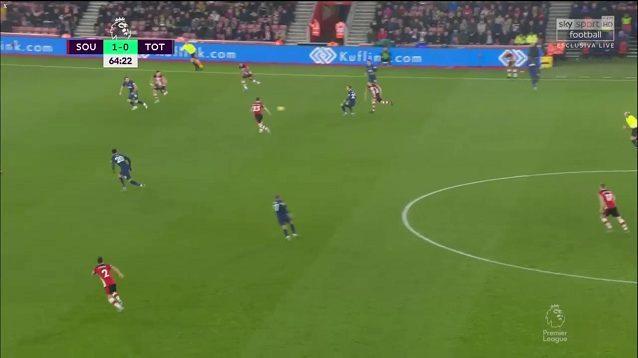 Eriksen controlla il pallone sul centro–destra e fa scorrere in verticale sulla corsa di Kane contro il Southampton