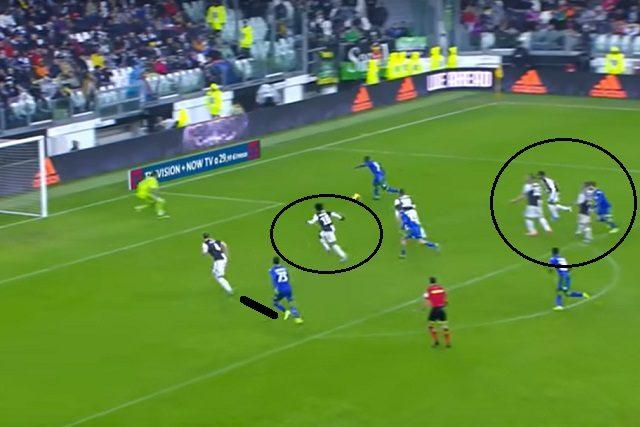 La verticalizzazione di Caputo taglia fuori la difesa, Traoré può calciare a pochi passi da Buffon
