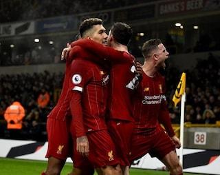 Wolves-Liverpool 1-2, Klopp inarrestabile: Reds quinta squadra imbattuta per 40 gare fila