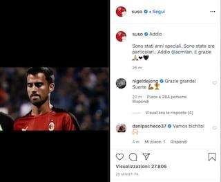 """L'addio di Suso al Milan: """"Sono stati anni speciali"""""""