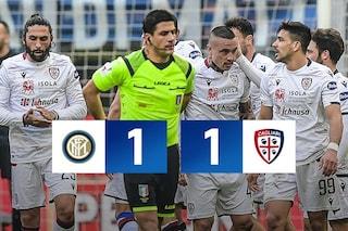Inter-Cagliari 1-1: altro pareggio per Conte, Lautaro (espulso) non basta