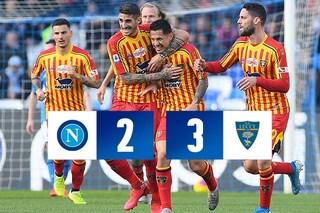 Napoli-Lecce Serie A 2-3, Lapadula e Mancosu stendono Gattuso