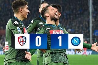 Cagliari-Napoli 0-1, decide Mertens. 120° gol del belga con gli azzurri