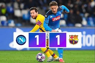 Napoli-Barcellona 1-1: Mertens illude gli azzurri, Griezmann firma il pareggio