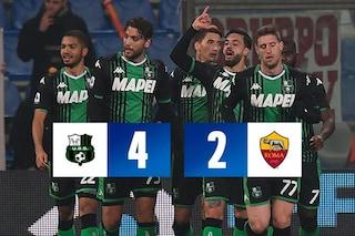 Sassuolo, Caputo e Boga schiantano la Roma 4-2. Ora la Champions è a rischio