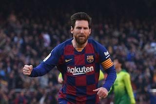 Leo Messi, messaggio al Napoli: poker di gol in Barcellona-Eibar