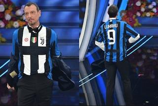 """Sanremo, Lapo Elkann sfotte Amadeus: """"Normale che la Juve sia davanti e l'Inter dietro"""""""