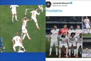 """Juventus, la reazione di Bonucci sui social dopo il fallo di mano da rigore: """"Fino alla fine"""""""