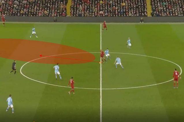 Fabinho in azione contro il Manchester City: si vede come riesca a orientare il corpo per proteggere palla, evadere il pressing e liberare spazio per i compagni