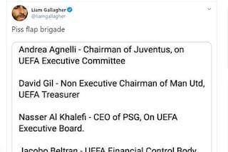 Manchester City fuori dalle coppe, Liam Gallagher fa i nomidel 'complotto': c'è Agnelli