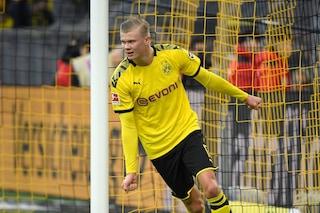 Haaland altra doppietta con il Borussia: ha segnato 7 gol in 3 partite in Bundesliga