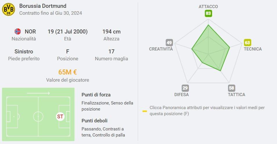 il costo del cartellino di Haaland secondo il sito Sofascore.it