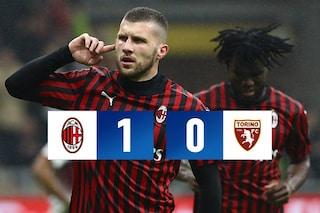 Milan-Torino 1-0, Rebic decide il Monday night. Pioli vede l'Europa