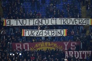 """Roma-Gent, lo striscione dei tifosi per Sebino Nela: """"Sempre al tuo fianco ci troverai"""""""